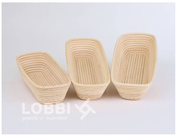 Wood rattan shape for rising bread - oblong-angled 1500 g