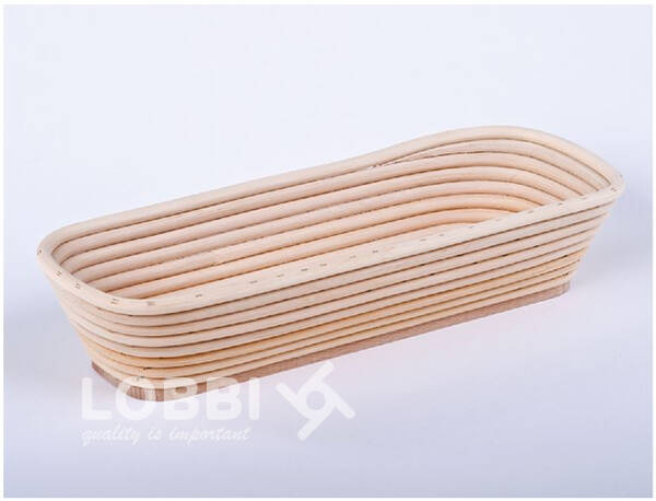 Wooden rattan form for rising bread with a wooden bottom - oblo