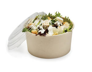 Plastic lid for paper salad form