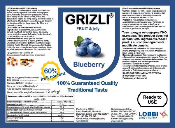 Jeleu de fructe coacăze GRIZLI FRUIT&jelly