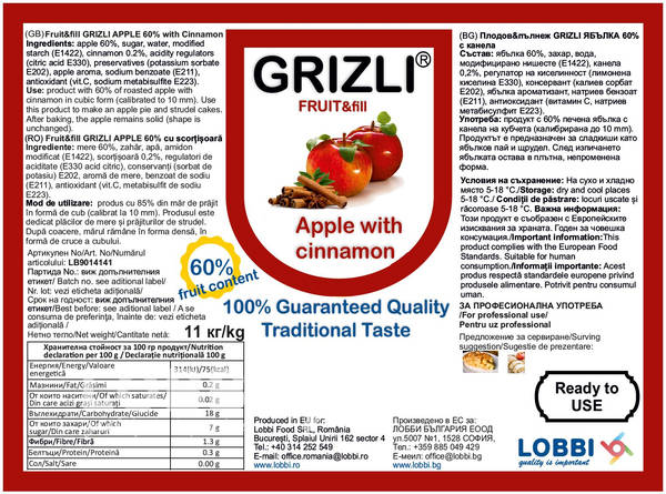 GRIZLI FRUIT&fill 60% Roasted Apple & Cinnamon